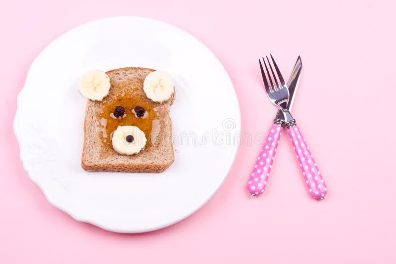 Twarz na chlebie dla śniadania fotografia stock