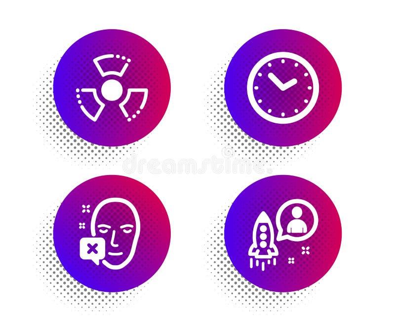 Twarz obniżał, zagrożenia ikony ustawiać, czasu i substancji chemicznej Rozpocz?cie znak Tożsamościowy błąd, zegar, substancja to ilustracji