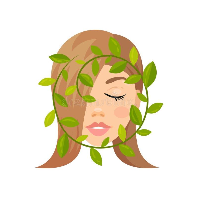 Twarz piękni kobiety i zieleni liście kosmetyk naturalny Zdrowie i piękna temat Płaska wektorowa ikona royalty ilustracja