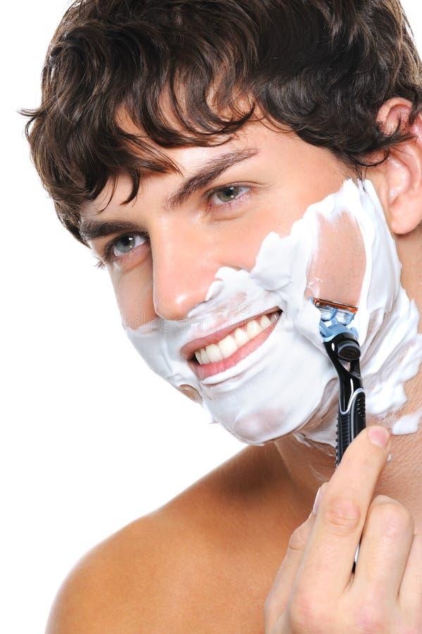 twarz przystojna golenie mężczyzna portreta golenie obrazy stock