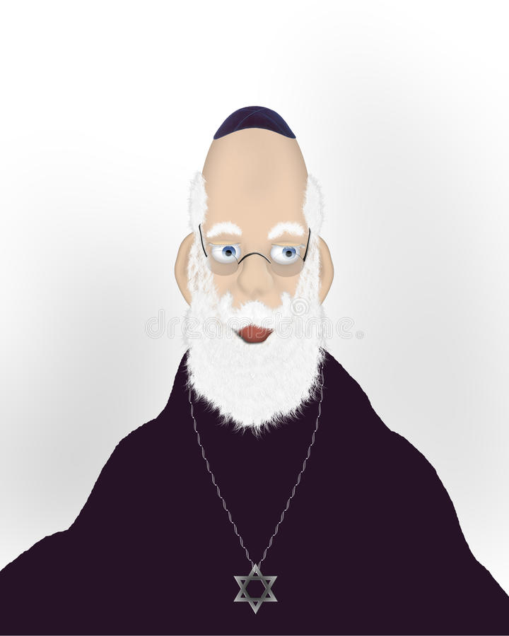 twarz rabin żydowski stary royalty ilustracja