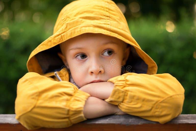 Twarz smutny, chłopiec, z dużymi pięknymi oczami zdjęcia stock