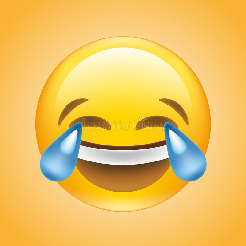 Twarz z łzy radości emoji wektorem ilustracji