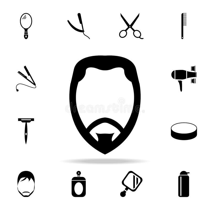 twarz z brody ikoną Szczegółowy set fryzjerów męskich narzędzia Premia graficzny projekt Jeden inkasowe ikony dla stron interneto royalty ilustracja