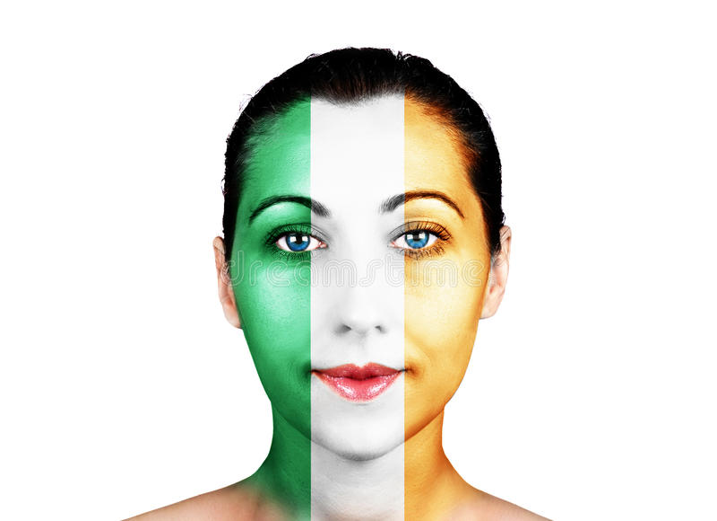 Twarz z Irlandia flaga obraz royalty free