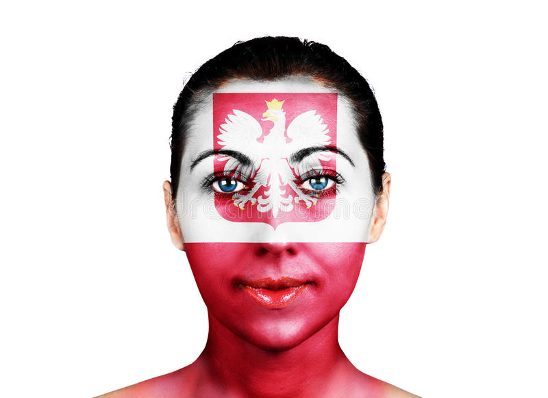 Twarz z Polska flaga obraz stock