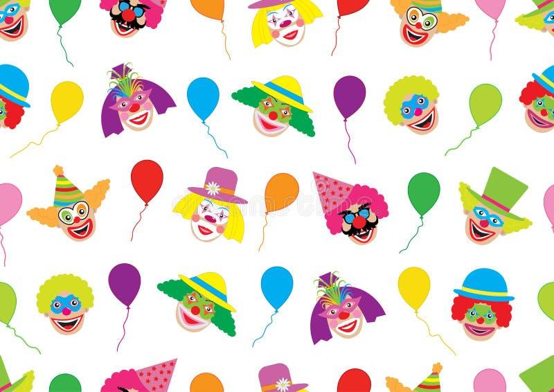 Twarze błazeny i balony bezszwowy wzoru ilustracja wektor