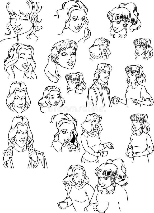 Twarze dziewczyny i faceci z emocjami ilustracji