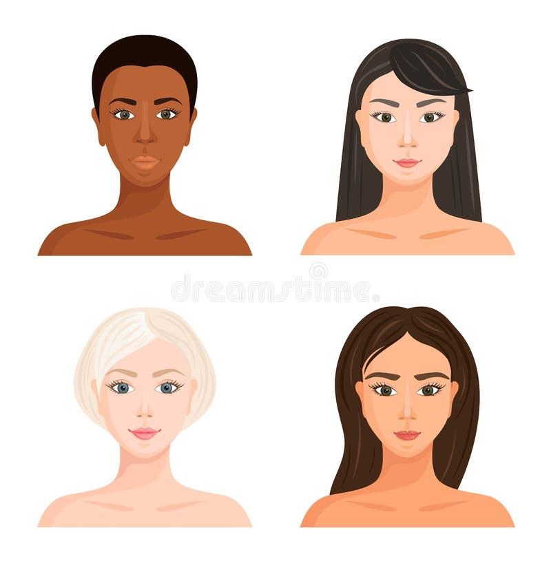 Twarze dziewczyny z różnym kolorem skórym, włosy i oczami, Europejczyk, afrykanin, Latyno-amerykański i Azjatycki r?wnie? zwr?ci? ilustracji