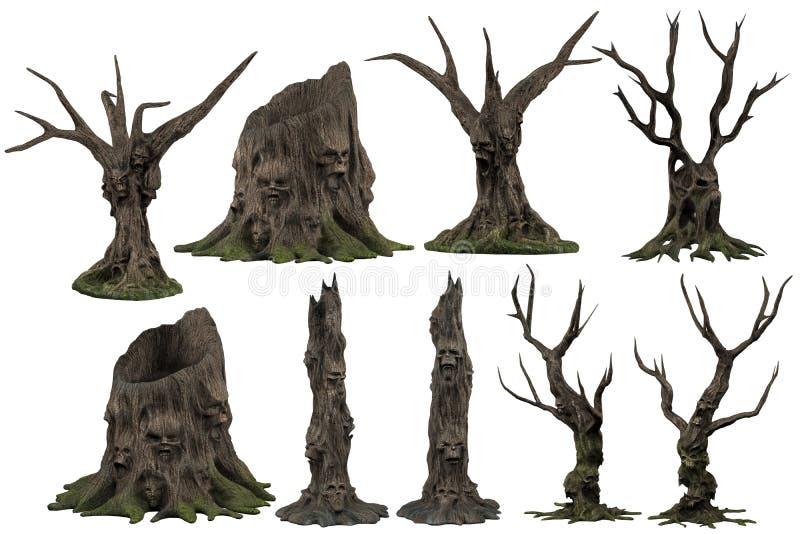 Twarze i czaszki w drzewnych fiszorkach royalty ilustracja