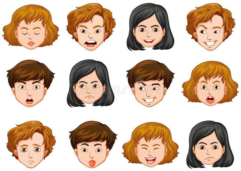 Twarze ludzkie z różnymi emocjami royalty ilustracja