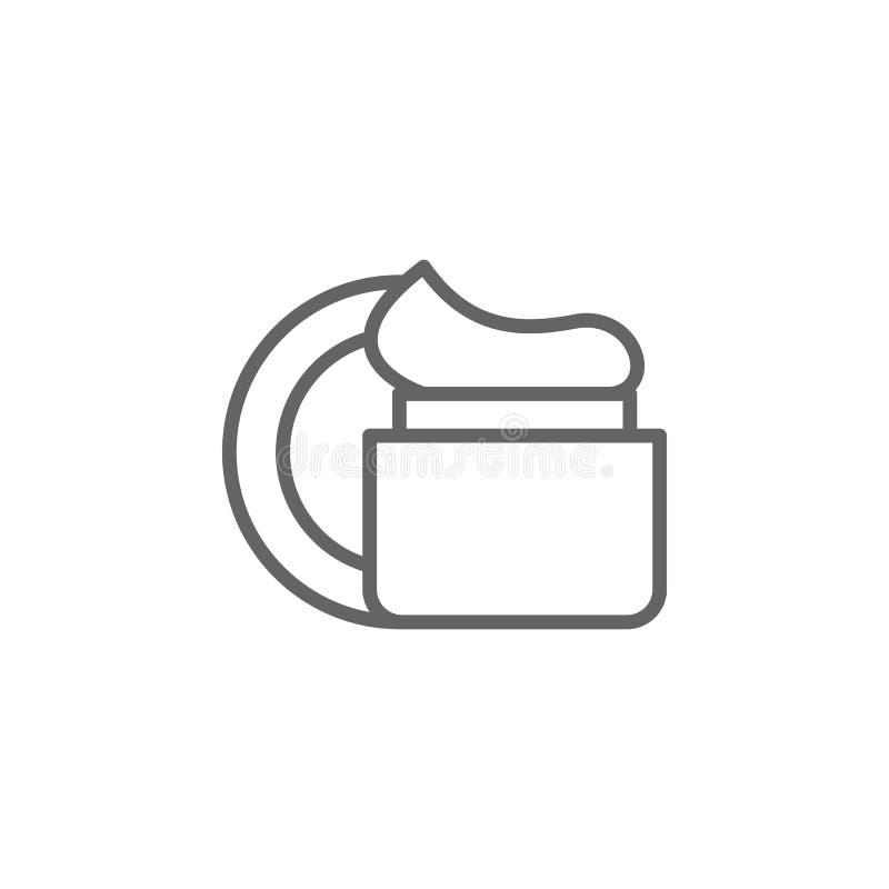 Twarzowa kremowa kontur ikona Elementy pi?kna i kosmetyk?w ilustracja ikona Znaki i symbole mog? u?ywa? dla sieci, logo, wisz?ca  ilustracji