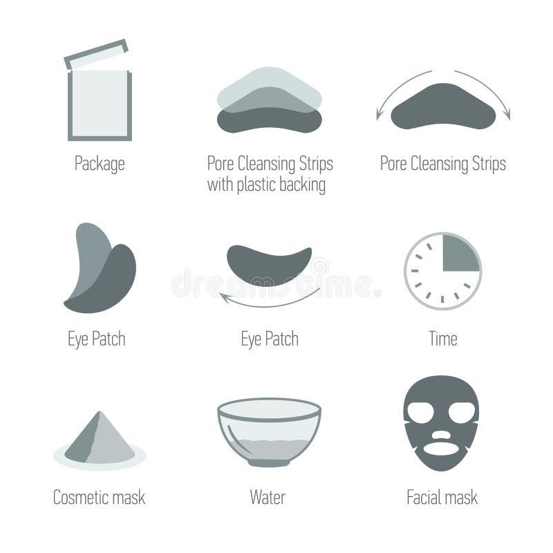 Twarzowe skóry opieki ikony ustawiać Czyścący skórę i utrzymuje zdrową skórę Skór zdrowie, symbole inkasowi ilustracja wektor