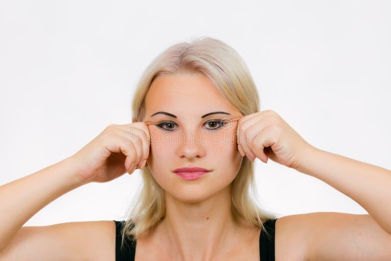 Twarzy ćwiczenia jawline masaż obrazy stock