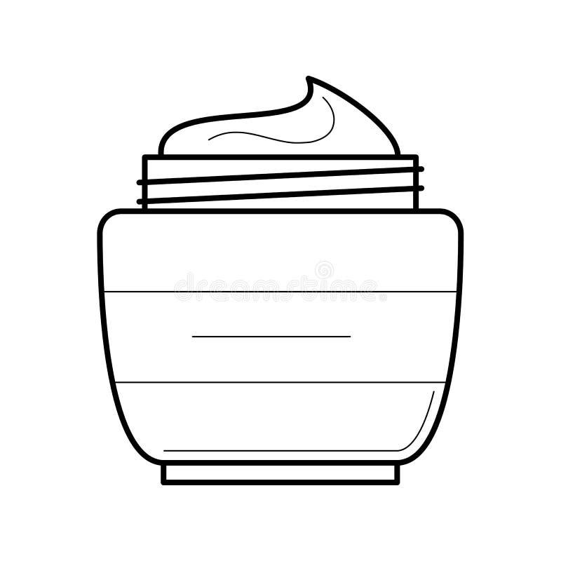 Twarzy śmietanki słoju cienka kreskowa ikona ilustracja wektor