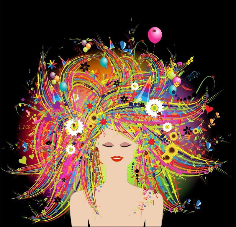 twarzy świąteczna kwiecista fryzury kobieta ilustracja wektor