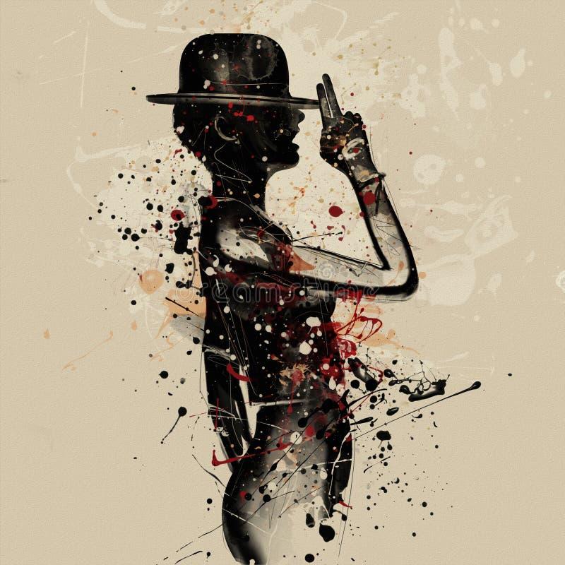 twarzy abstrakcjonistyczna kobieta Grunge moda royalty ilustracja