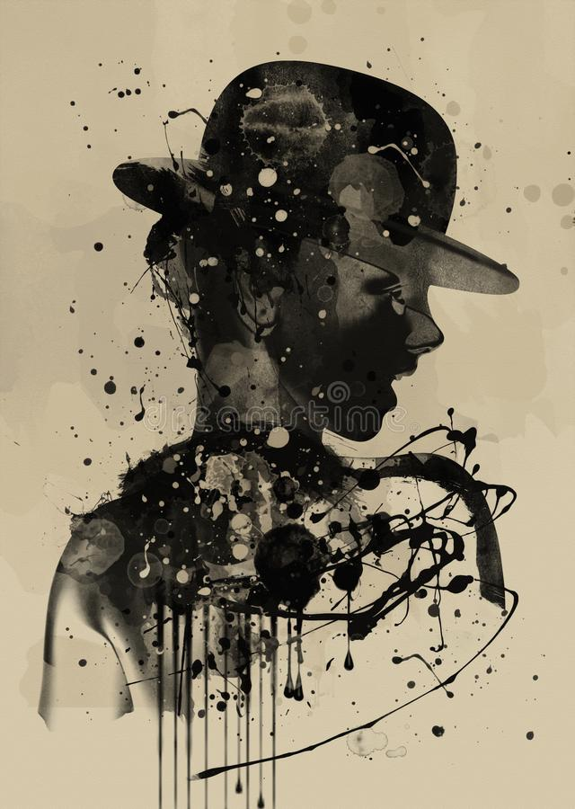 twarzy abstrakcjonistyczna kobieta Grunge moda ilustracja wektor
