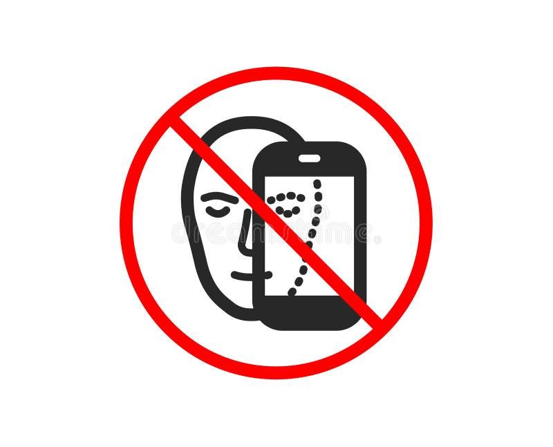 Twarzy biometrii ikona Twarzowy rozpoznanie telefonu znakiem wektor ilustracji