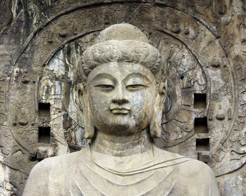 Twarzy Buddha statuy chińczyka Antyczny kamień zdjęcia royalty free