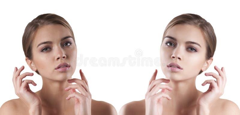 Twarzy dziewczyna przed i po, zdroju patrzeć fotografia royalty free