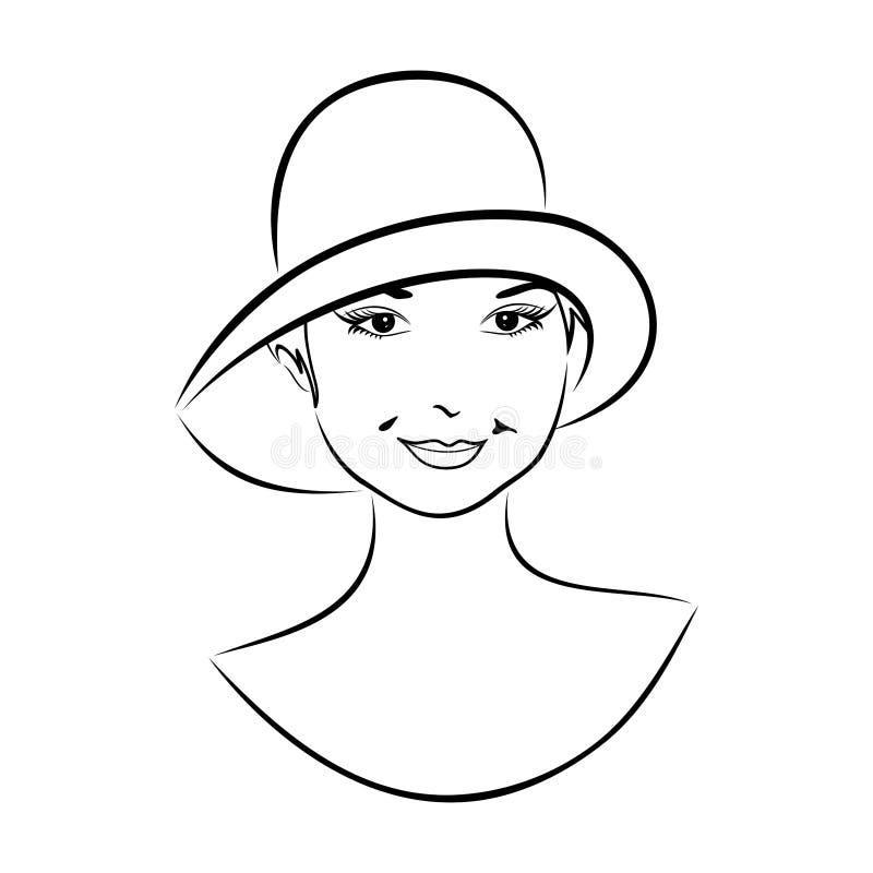 twarzy dziewczyny kapeluszu rocznik ilustracji