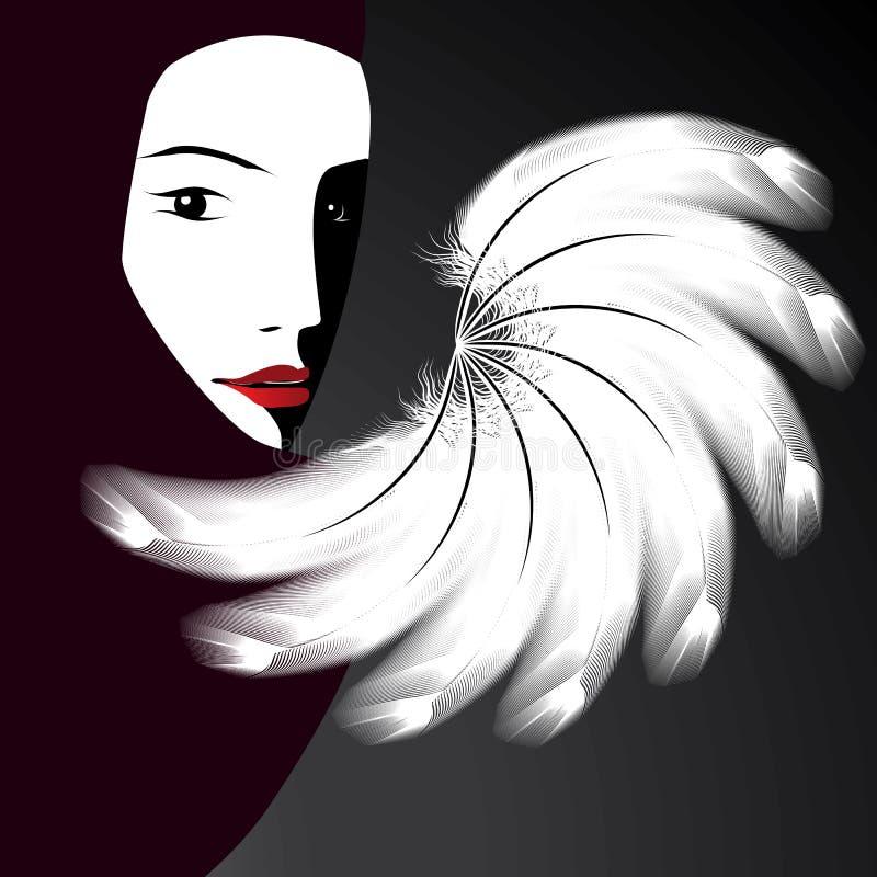 twarzy fan s kobieta royalty ilustracja