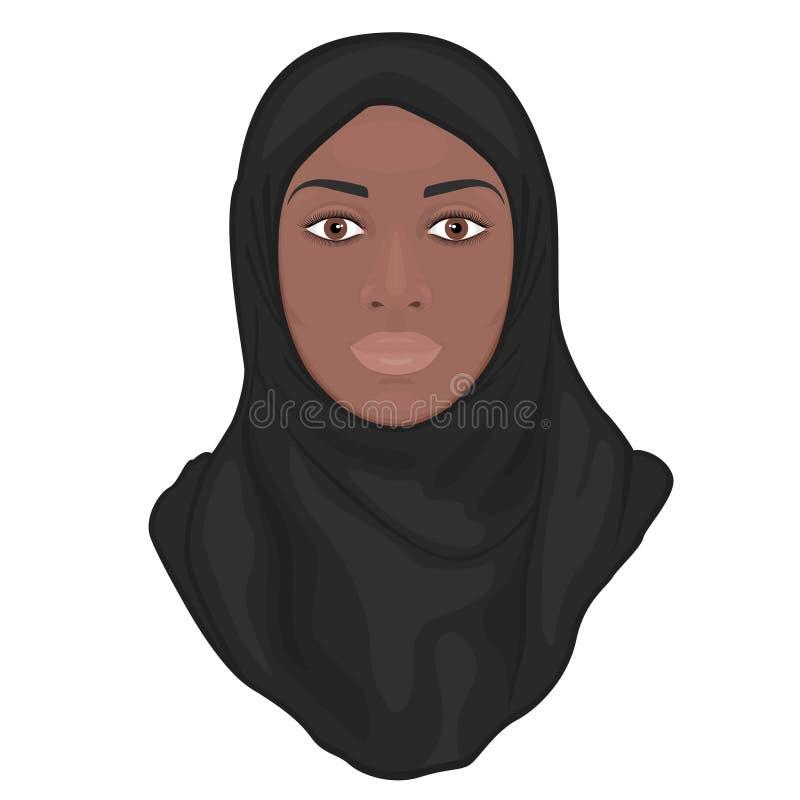 Twarzy front_Muslim amerykanin afrykańskiego pochodzenia kobieta w hijab ilustracja wektor