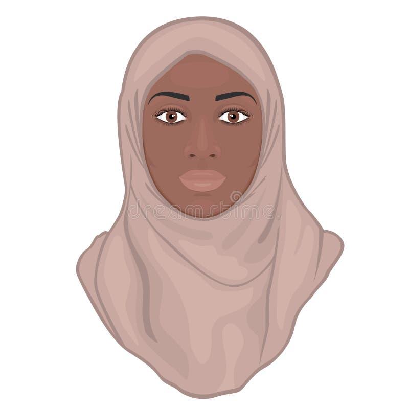 Twarzy front_Muslim amerykanin afrykańskiego pochodzenia kobieta w różowym hijab royalty ilustracja
