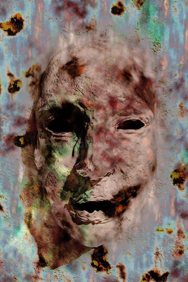 twarzy halucynacj straszna ściana ilustracja wektor