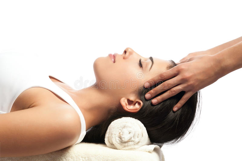 Twarzy i głowy masaż przy zdrojem fotografia royalty free
