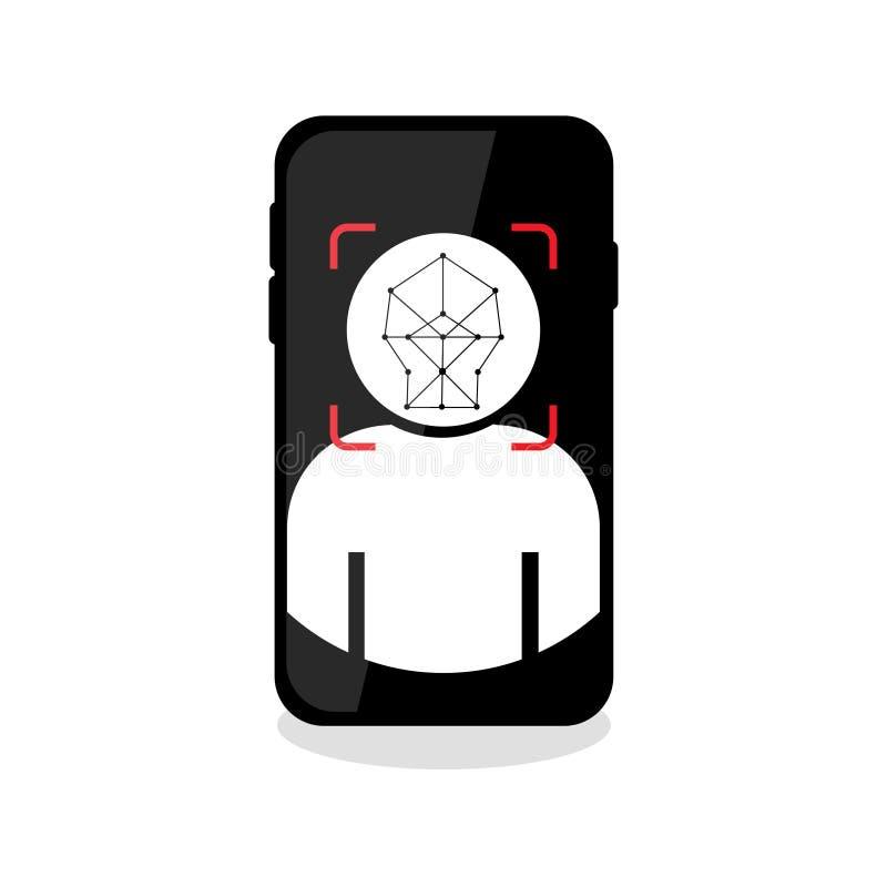 Twarzy id rozpoznania ikona na pustym tle ilustracji