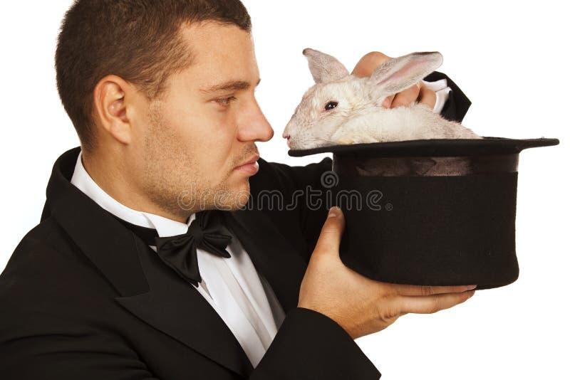 twarzy kapeluszowy magika królik target2373_0_ obraz royalty free