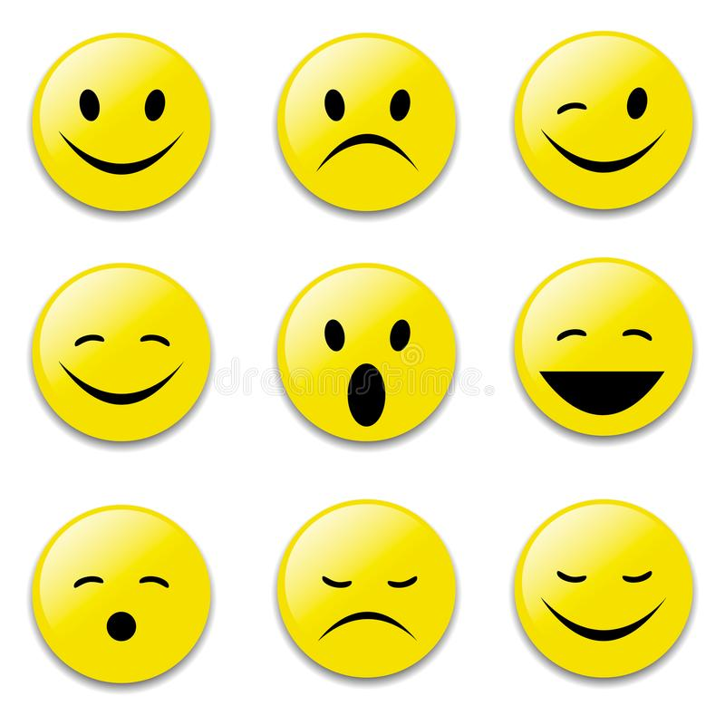 Twarzy, koloru żółtego, ono uśmiecha się, śmiesznych i smutnych emocjonalne śmieszne twarze, ilustracji
