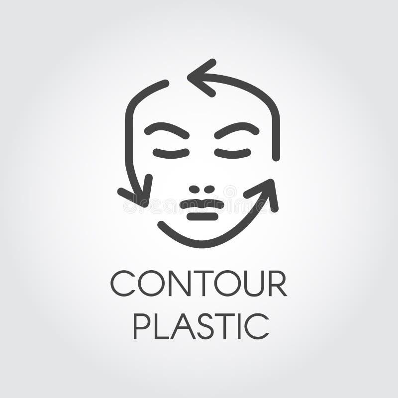 Twarzy konturowej korekci liniowa ikona Chirurgii plastycznej lub kosmetyka procedur piktogram Ludzki portret z przewdonik strzał royalty ilustracja