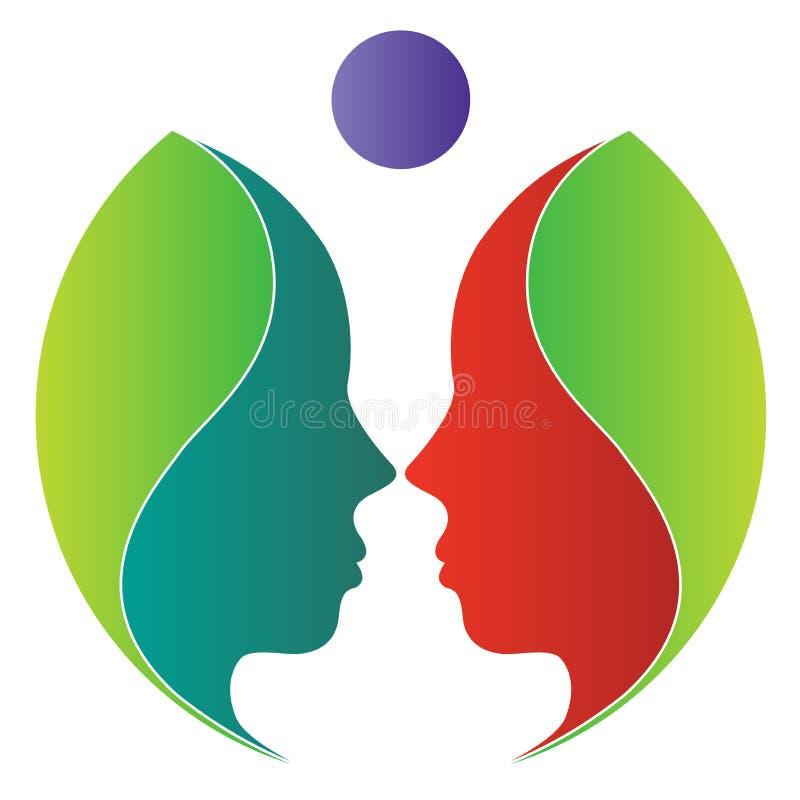 twarzy liść logo ilustracji