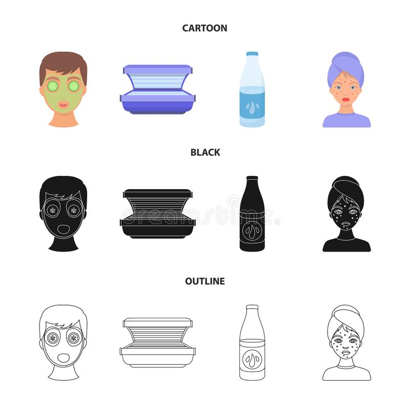 Twarzy maska, solarium, butelek ts lasenom, krosty na twarzy Skóry opieki ustalone inkasowe ikony w kreskówce, czerń, konturu sty ilustracja wektor