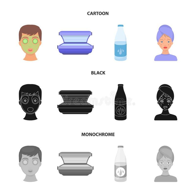 Twarzy maska, solarium, butelek ts lasenom, krosty na twarzy Skóry opieki ustalone inkasowe ikony w kreskówce, czerń, monochrom royalty ilustracja