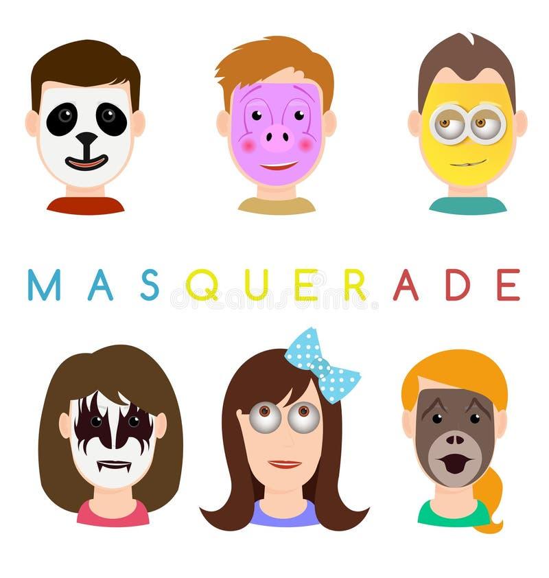Twarzy maski ikony Twarze z zwierzętami świnie, panda, małpie maski, półdupki ilustracji