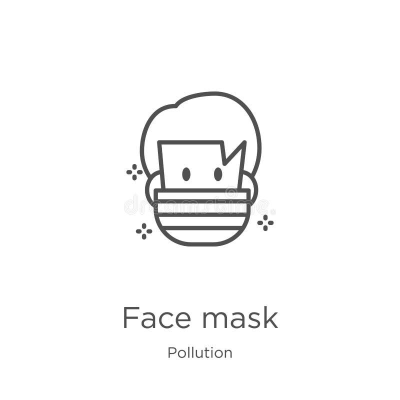 twarzy maski ikony wektor od zanieczyszczenie kolekcji Cienka kreskowa twarzy maski konturu ikony wektoru ilustracja Kontur, cien royalty ilustracja