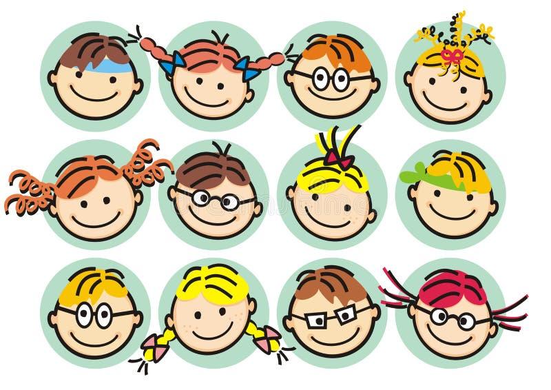 Twarzy od dziewczyny i chłopiec, szczęśliwi dzieciaki, wektorowa ilustracja royalty ilustracja
