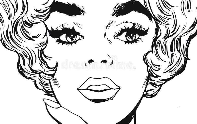 twarzy piękna kobieta ilustracja wektor