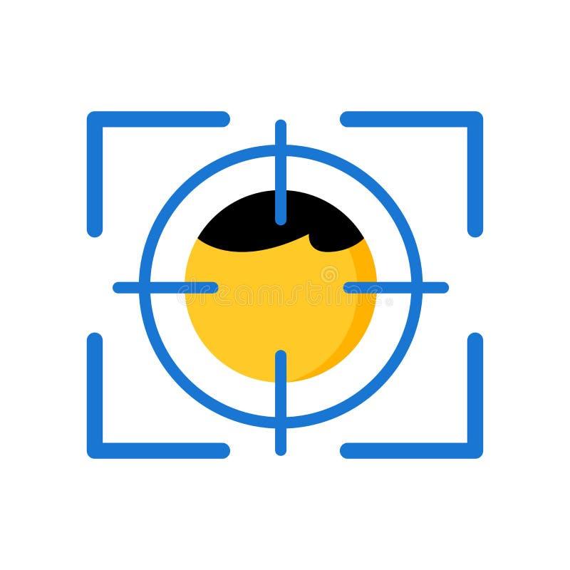 Twarzy rozpoznania ikony wektoru znak i symbol odizolowywający na białym tle royalty ilustracja