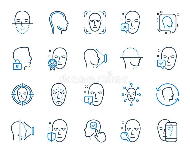 Twarzy rozpoznania linii ikony Set twarzy biometrics skanerowanie i wykrycie wektor ilustracji