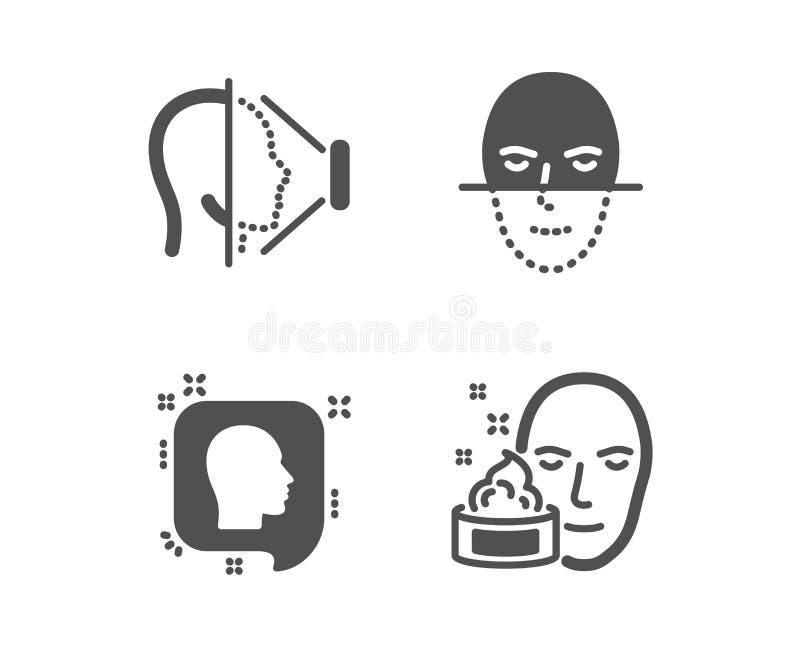 Twarzy rozpoznanie, twarzy id i Kierownicze ikony, Stawia czoło biometrię, telefonu skanerowanie, Profilowe wiadomości gel wektor ilustracja wektor
