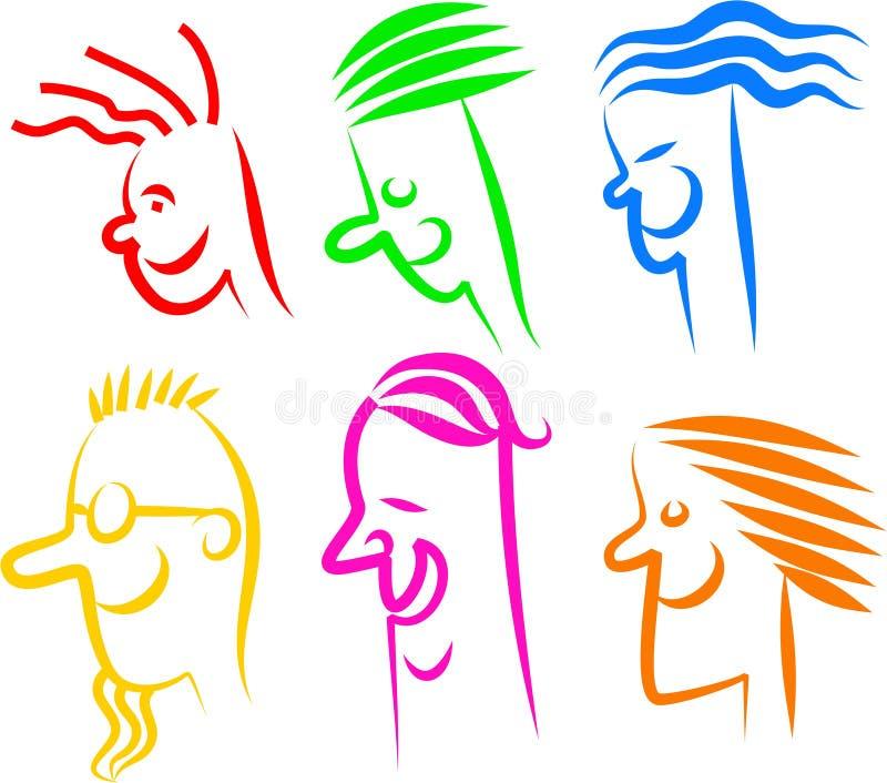 twarzy szczęśliwe ikony ilustracja wektor