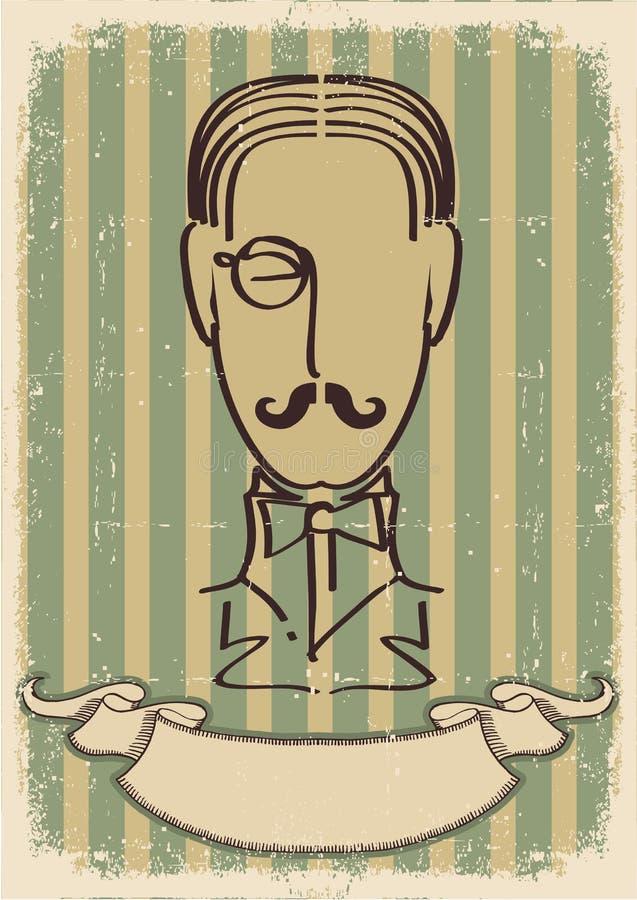 twarzy wizerunku mężczyzna wąsy retro royalty ilustracja