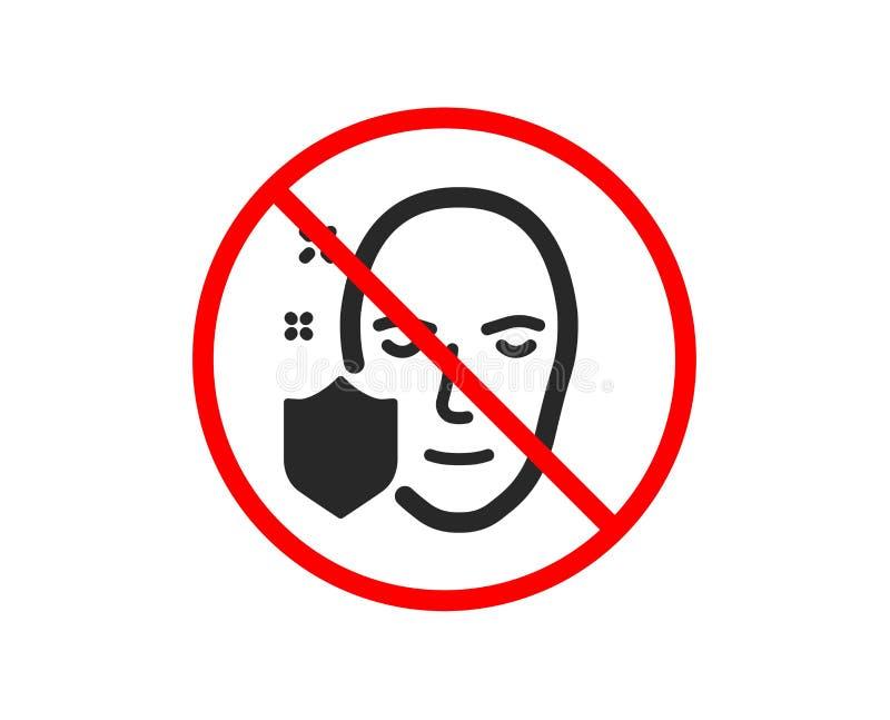 Twarzy wykrycie ochraniająca ikona Bezpiecznie dostępu znak wektor ilustracji