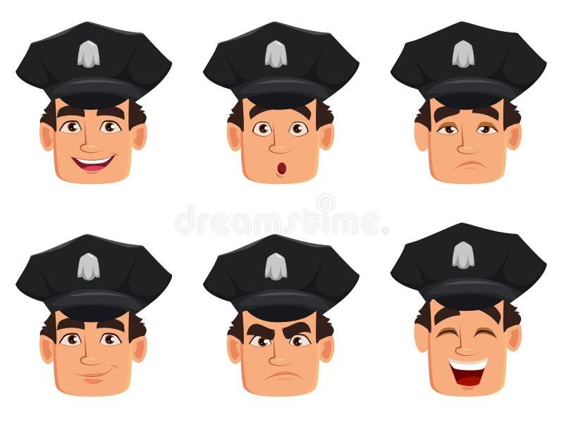 Twarzy wyrażenia funkcjonariusz policji, policjant Set różne emocje ilustracji