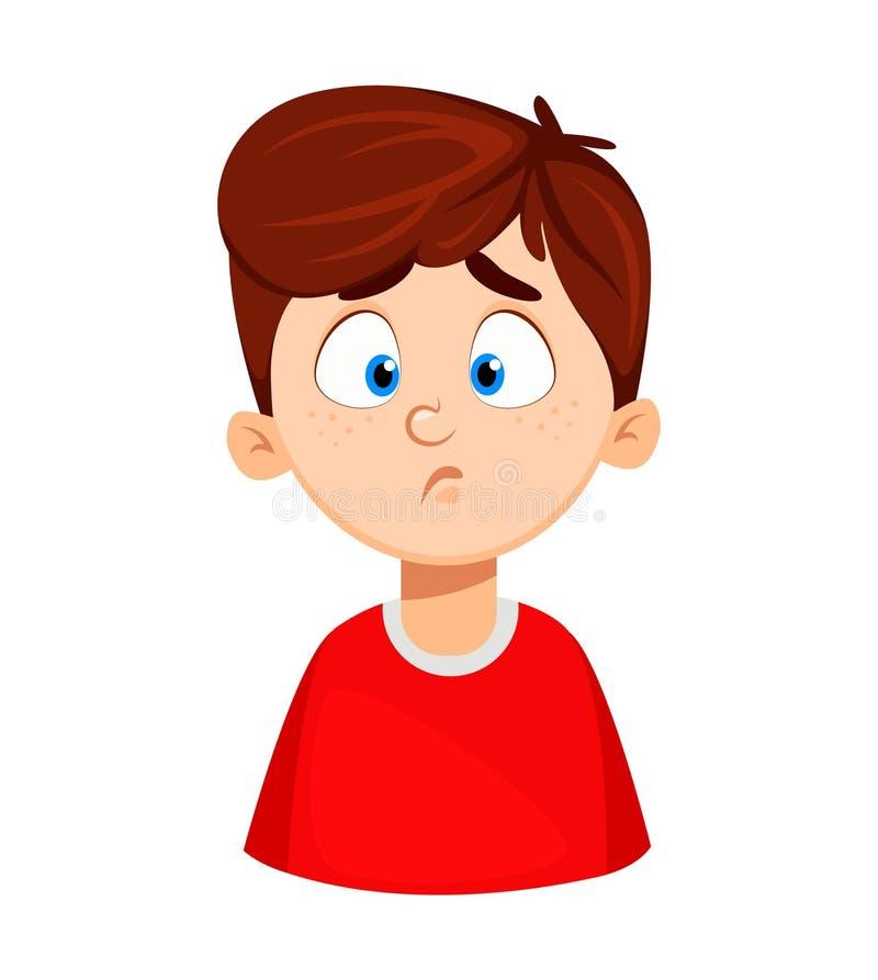 Twarzy wyrażenie śliczna chłopiec, smutny ilustracji